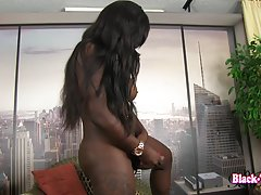 Toya`s hot penis all the while looking up and admiring her big tits !