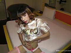 Belle makes the POV so horny that he quickly cums, pushing all the sperm deep inside her! Belle is wearing a see through fashion shirt, panties and pink stockings. Belle sexily rubs her lithe Ladyboy body, beckoning the POV guy for pleasure. Belle's hard