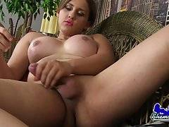 Jessi Smith is a sexy curvy tgirl with a hot body, huge tits, a sexy juicy ass and a delicious uncut cock! Watch this horny transgirl stroking her hard dick!