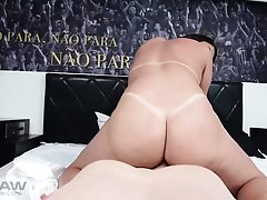 Aline Tavares shows that deep throating is her specialty, going all the way to the balls before a hot raw sex sessions! Aline`s TS curves are accented with g-string tanlines. Especially on her hanging womanly tits and big thundering ass. When Aline takes