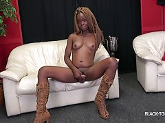 She made her comeback two weeks ago, it`s time for the follow up scene! Gorgeous Hennessy loves posing and showing off her sexy body! She looks smoking hot in those boots and that nice tight dress! Watch her as she strips and strokes her cock until she cu