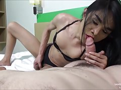 Sandie strokes her stallion dick while sucking on a hard POV dick. She`s wearing a black bra and pantie set and pulls out her cock. Sandie gives a blowjob then rubs both cocks together to cum. Sandie loves the slippery cocks together and jizzs all over th