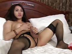 Sexy May has a smoking hot body, perky boobs, a nice juicy ass and a sexy hard cock! Enjoy this hot Asian Grooby girl jacking off and cumming!