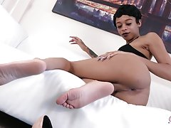 Gorgeous TS Erika returns and she looks smoking hot with short hair in her sexy little black dress! Erika is a beautiful tgirl with a slim body, nice boobs and a perfect firm ass! Watch her showing off her nice booty and stroking her cock until it gets ro