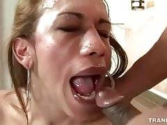 She-male enjoys the taste of lover`s cum after great fucking.