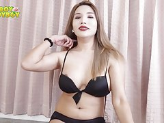 Nacha is a smart playful girl, with a round butt and a 5 inches cock. She is very hot when she`s flipping her self around the couch.