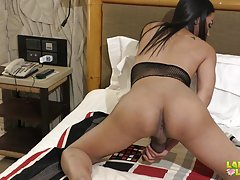 Gobee is back! Prettier than ever. Her gorgeous curves is a perfect weapon for seduction. Her big tits are very suckable and you`ll gonna love this doll for sure. Watch this sweetie as she gets so turned on she ends up stroking her rock hard cock for a pe