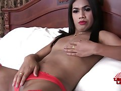 May is a sexy demure tgirl with a hot slim body, small budding hormone tits and a hard cock! Enjoy this hot transgirl jacking off and cumming for you!