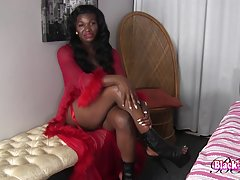 Black Luscious is a hot horny tgirl with a sexy body, big boobs, a juicy firm bubble butt and a big hard cock! Enjoy this sexy tgirl stroking her hard cock and shaking her ass!