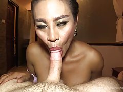 Jasmine bangs away, barebacking the POV and leaning down to taste his cock. Shots of the gaped ass as Jasmine has her way with the POV. Jasmine pulls out and spills her big load all over the open hole. Her warm sperm shoots all over and Jasmine pushes the
