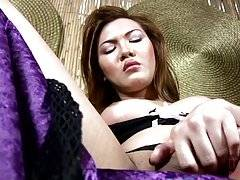 She flashes her gorgeous smile and that succulent shemale cock, begging for someone to play with