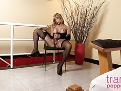 Couldn`t get enough of Carla last month? Well, we`ve got that tempting vixen back for her solo video performance, and it is really going to make you sweat. The yellow-haired stunner lets her tits hang out while she rubs her cock, happy to show you all her
