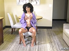 Kami Piper is definitely one of our hottest newcomers right now... She already made her hardcore and solo debuts, now she`s returns for her second solo scene! Watch her stripping, posing and stroking her cock until she shoots a nice big load of yummy cum!