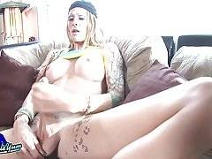 Morgan Bailey is back and she is horny! This sexy tall tgirl has a smoking hot body, big tits, legs that go on forever and a delicious big hard cock! Watch as Morgan masturbates and pops a big cumshot!