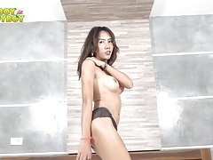 Atom is a lovely ladyboy whose gorgeous body is designed for ultimate pleasure. This brunette doll may look innocent but she isn`t shy about going naked and pleasuring her uncut cock and you won`t believe how hot she is when she plays! Enjoy!